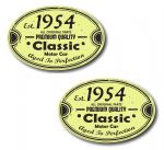 PAIR Distressed Aged Established 1954 Aged To Perfection Oval Design Vinyl Car Sticker 70x45mm Each